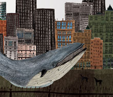 Blue Whale visits friends in the city